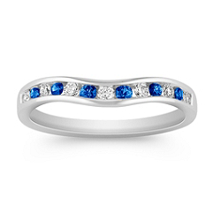 Sapphire and Diamond Contour Wedding Band with Channel Setting