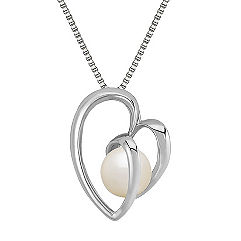 8.5mm Cultured Freshwater Pearl and Sterling Silver Heart Pendant (18 in.)