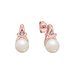 7mm Cultured Akoya Pearl and Diamond Earrings in Rose Gold