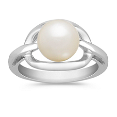 8mm Cultured Freshwater Pearl and Sterling Silver Ring