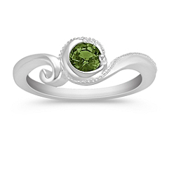 Round Green Sapphire and Sterling Silver Ring