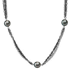 9mm Cultured Tahitian Pearl and Sterling Silver Necklace (18 in.)