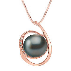 10mm Cultured Tahitian Pearl and Round Diamond Pendant in Rose Gold (18 in.)