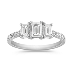 Emerald Cut and Round Diamond Three-Stone Anniversary Band