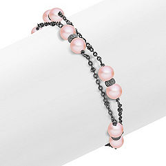 6mm Pink Cultured Freshwater Pearl and Sterling Silver Bracelet (7.5 in.)