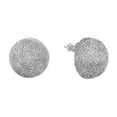 Round Sterling Silver Earrings in Glitter Finish