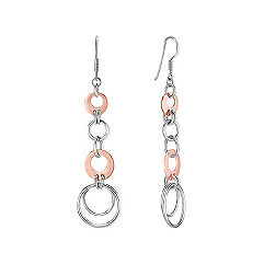 Sterling Silver & Rose Circle Earrings