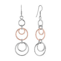 Rose Dangle Sterling Silver Circle Earrings