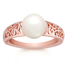 8mm Cultured Akoya Pearl Ring in Rose Gold