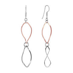 Sterling Rose & Silver Dangle Earrings