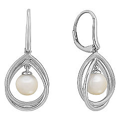 7.5mm Cultured Freshwater Pearl Earrings in Sterling Silver