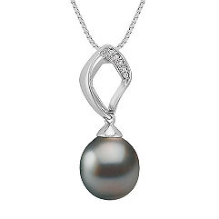 11mm Cultured Tahitian and Round Diamond Pendant (18 in.)