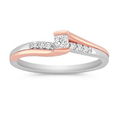 Princess Cut and Round Diamond Ring in Sterling Silver and 14k Rose Gold