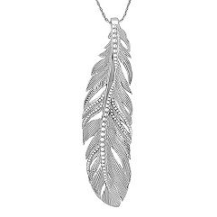 Sterling Silver Feather Pendant (18 in.)