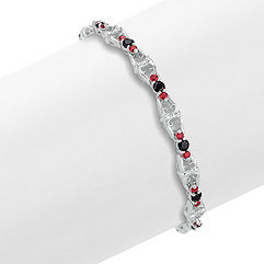 Round Black Sapphire and Ruby Bracelet (7 in.)