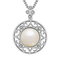 9mm Cultured Freshwater Pearl Pendant in Sterling Silver (18 in.)