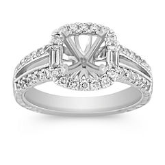 Halo Baguette and Round Diamond Engagement Ring with Pavé Setting