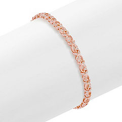 Round Diamond Bracelet in 14k Rose Gold (7.5)