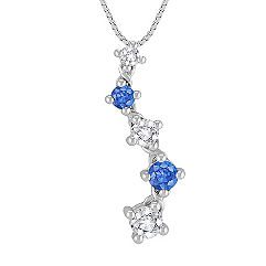 Round Multi-Colored Sapphire Journey Pendant (18 in.)