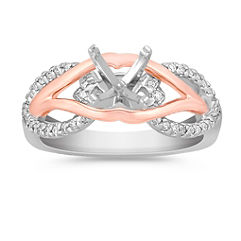 Round Diamond Ring in 14k Rose and White Gold