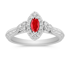 Marquise Ruby and Halo Diamond Ring