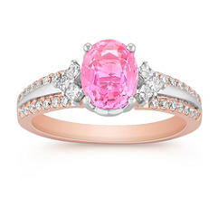 Oval Pink Sapphire, Princess Cut and Round Diamond Ring in Two-Tone Gold