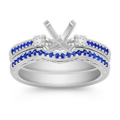 Vintage Sapphire and Diamond Wedding Set with Pavé Setting