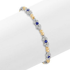 Round Sapphire and Diamond Bracelet in Two-Tone Gold (7 in.)