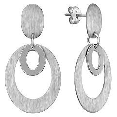 Brushed Sterling Silver Circle Earrings