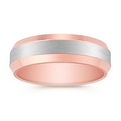 Platinum and 14k Rose Gold Comfort Fit Ring (6.5mm)