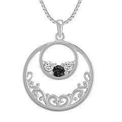 Round Multi-Colored Sapphire Circle Pendant in Sterling Silver (18 in.)