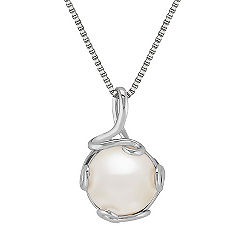 12mm Cultured Freshwater Pearl Pendant in Sterling Silver (18 in.)