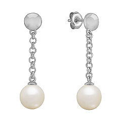 8mm Cultured Freshwater Pearl and Sterling Silver Earrings