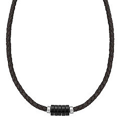 Braided Leather, Black Agate and Sterling Silver Necklace (20 in.)