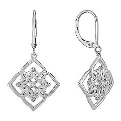 Round Diamond and Sterling Silver Earrings