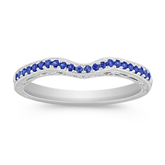 Sapphire Contour Wedding Band with Pavé Setting