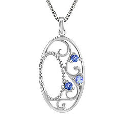Round Multi-Colored Sapphire Pendant in Sterling Silver (18)