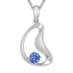 Round Kentucky Blue Sapphire and Sterling Silver Pendant (18 in.)