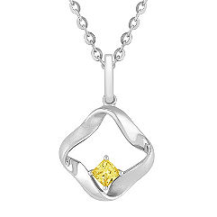 Princess Cut Yellow Sapphire and Sterling Silver Pendant (18 in.)