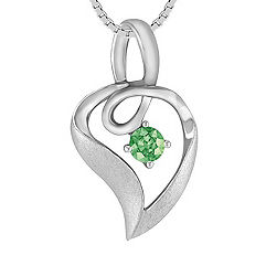 Round Green Sapphire and Sterling Silver Pendant (18)