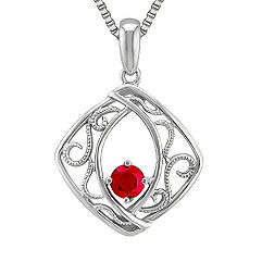 Round Ruby and Sterling Silver Pendant (18)
