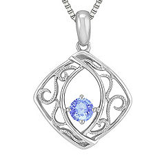 Round Ice Blue Sapphire and Sterling Silver Pendant (18 in.)
