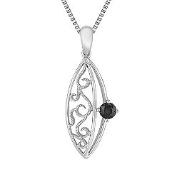 Round Black Sapphire and Sterling Silver Pendant (18 in.)