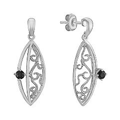 Round Black Sapphire and Sterling Silver Earrings