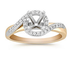Swirl Diamond Two-Tone Gold Engagement Ring