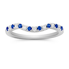 Round Sapphire and Diamond Contour Anniversary Band