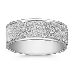 14k White Gold Wedding Band for Him (8mm)