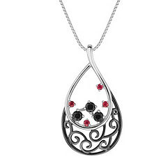 Round Ruby and Black Sapphire Pendant (18 in.)