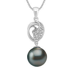 11mm Cultured Tahitian Pearl and Diamond Pendant (18)
