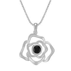 Floral Black Sapphire and Sterling Silver Pendant (18 in.)